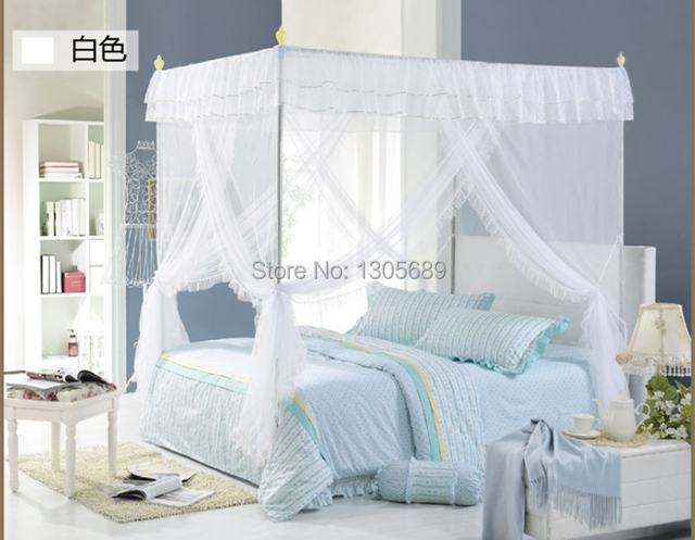 2015 Newly Listed European Style High Quality Metal Steel Frame Pole Mosquito Net Bed 4 Four