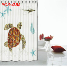 WONZOM Sea Lion 3D Waterproof Shower Curtain Polyester Bathroom Decor Turtle Decoration Cortina De Bano 2018 Bath