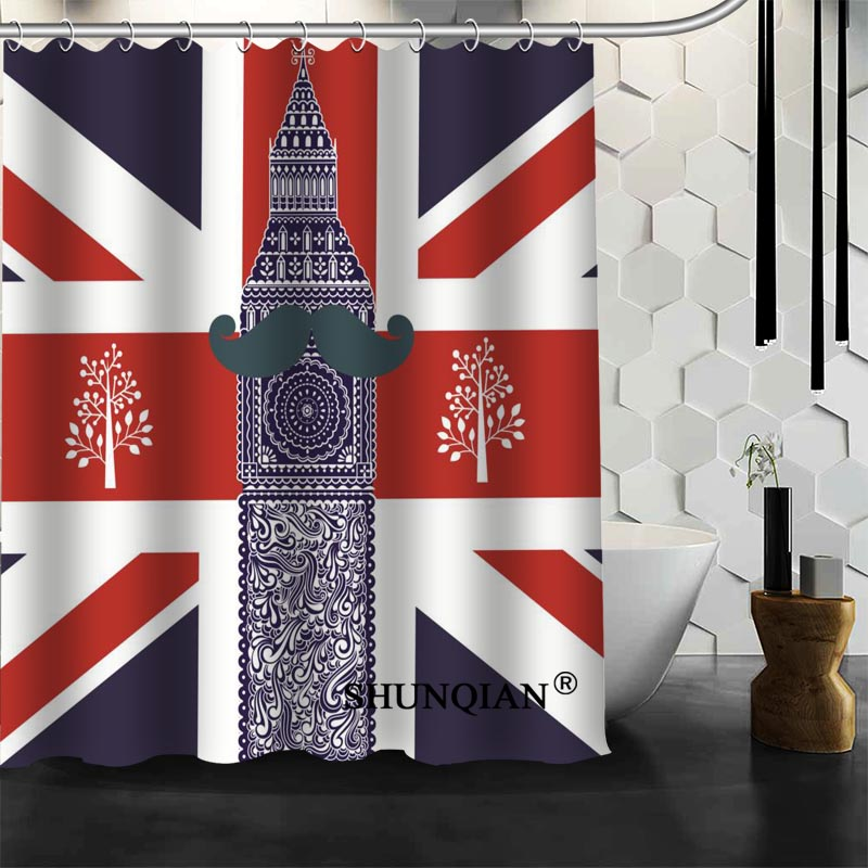 custom london shower curtain high quality bathroom accessories polyester fabric curtain with holeschina