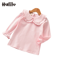 Halilo תינוקת חדשה שרוול ארוך חולצות טיז צבע אחיד Tshirts בנות ילדי בגדי בנות אביב סתיו ילדי T חולצה חולצה