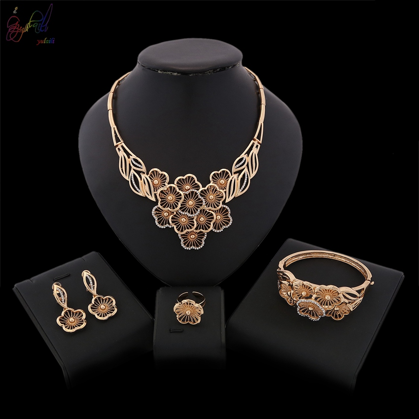 YULAILI Fashion Jewelry 2018 Necklace Bangle Earrings Ring Jewelry Sets for Women Party Wedding Daily Costume AccessoriesYULAILI Fashion Jewelry 2018 Necklace Bangle Earrings Ring Jewelry Sets for Women Party Wedding Daily Costume Accessories