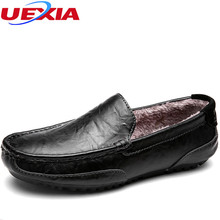 UEXIA Casual Shoe Male Flats Loafers Driving Wear-resistant Winter Fashion New Warm Leather Footwear Men Shoes Black Comfortabl