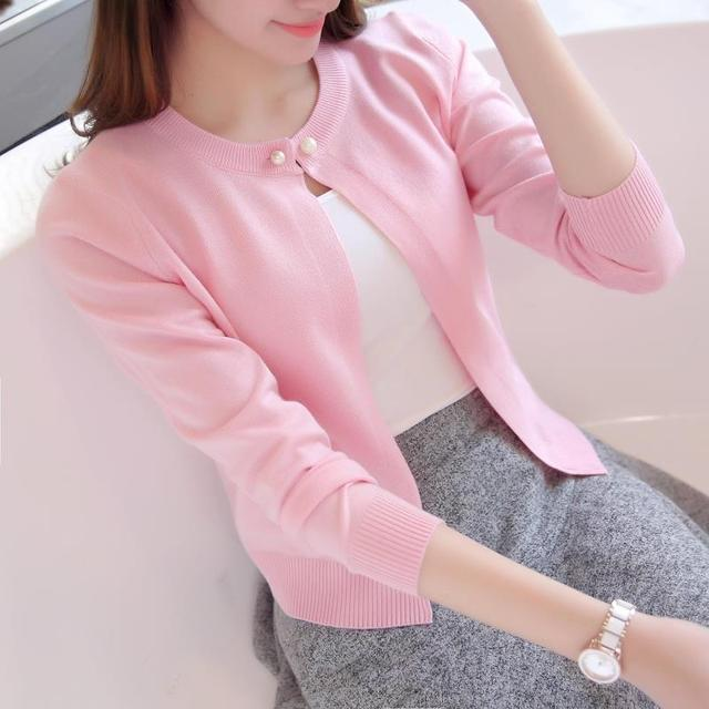 Newest Knitted Cardigan Women 2018 Spring Autumn Long Sleeve Women Sweater Cardigan Female Single Button Pull Femme Black/Pink