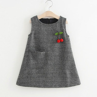 2017 New Autumn And Winter Girls Dress Woolen Vest Dress With Pocket Decoration For Girls Clothing