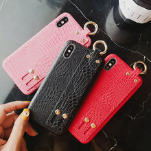PU leather wristband silicon case for iphone 7 8 6s 6 plus XR X XS MAX cover fashion holder soft protective phone bag capa