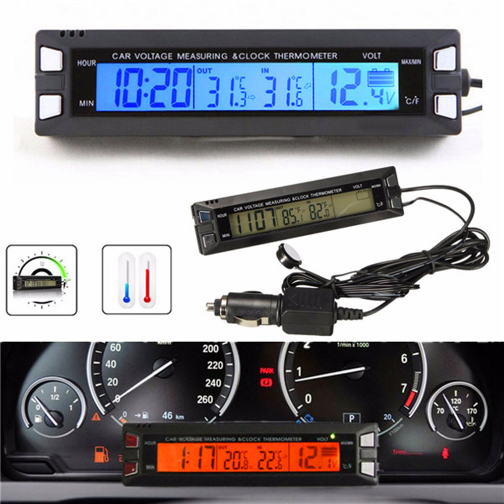 Universal 12V / 24V Red / Orange Backlight Car Digital LCD Display Clock, Thermometer dalaman / luaran, Voltan Meter Monitor Battery