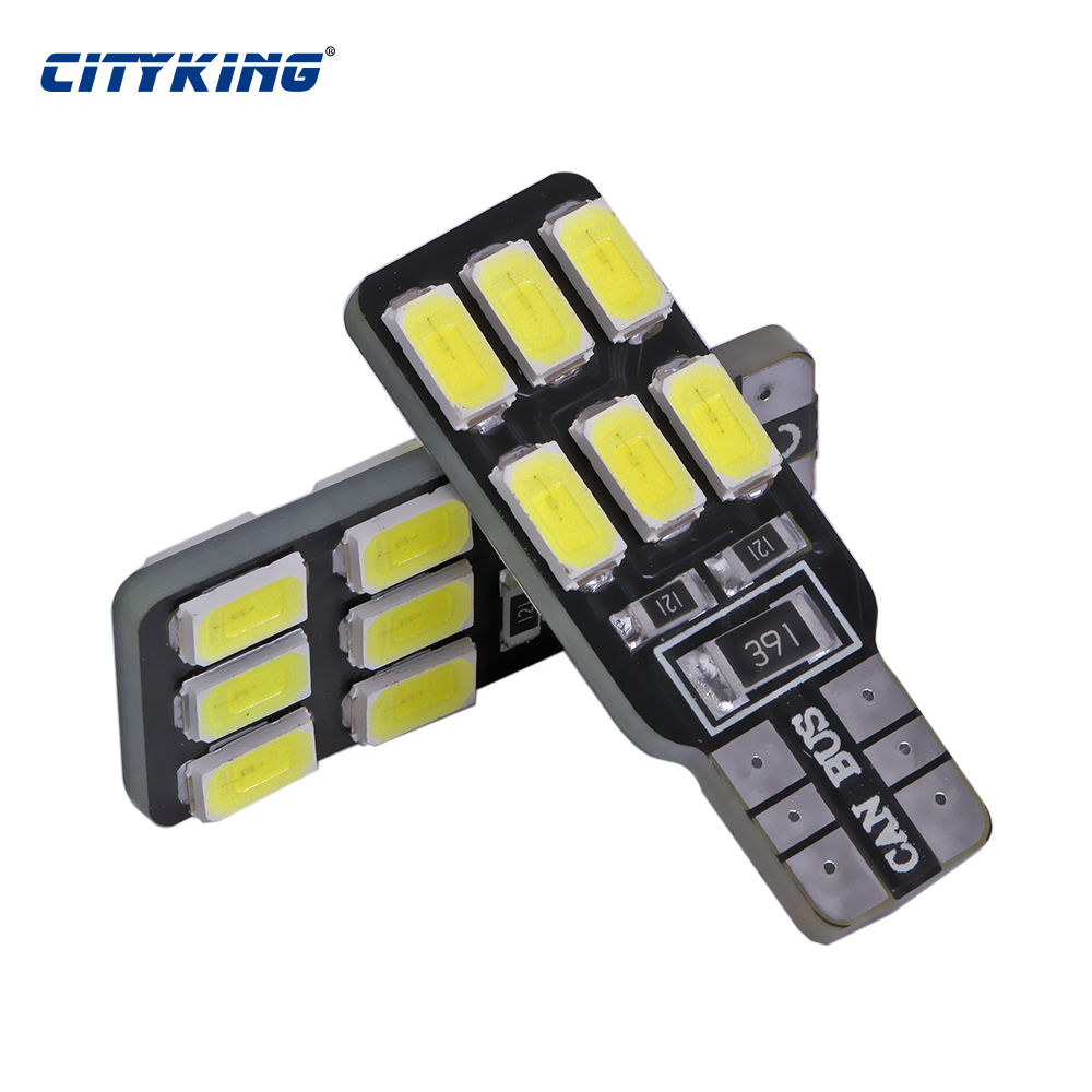 <font><b>4</b></font> x <font><b>T10</b></font> Canbus led bulb 194 168 W5W 5630 5730 12LED <font><b>SMD</b></font> Car Side Wedge Light Bulb Error Free Auto Car clearance light image