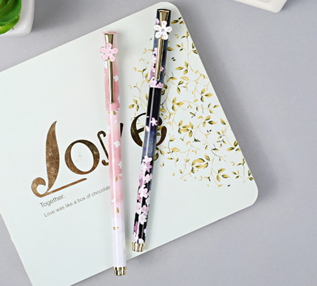 2pcs/lot High Quality Metal Gel Pen Womenu0027s Lovely Cherry Floral Signing  Pen Office Writing