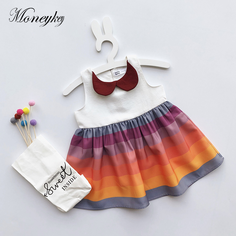 Baby Girls Dress Rainbow Color Kids Princess Dress Brand Children Cotton Dresses For Girl Summer Clothes Fashion Girls Clothing summer style girl dress cotton baby dress hollow out girls clothing infant princess dress baby girl clothes kids dresses 3 11
