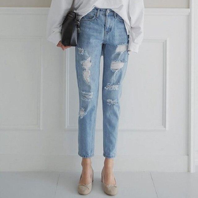 2017 Лето ripped boyfriend джинсы подходят свободные брюки женщин хлопка случайные старинные свободные джинсы женщин отверстие джинсы демин джинсы женщина