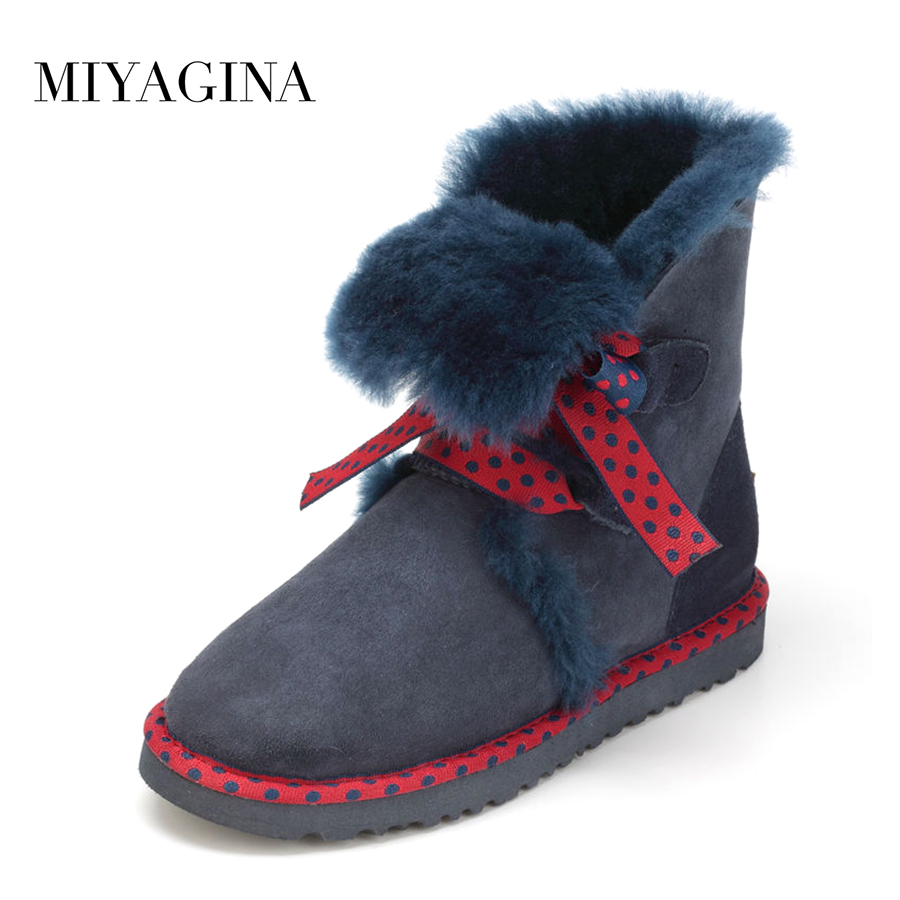 Top Quality 2018 New Genuine Sheepskin Leather Snow Boots Real Wool Botas Mujer Winter Natural Fur Warm Shoes For Women