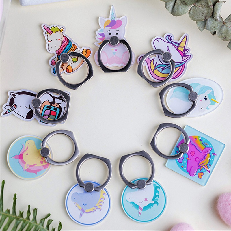 Galleria fotografica UVR Unicorn Mobile Phone Stand Holder Unicorn Finger Ring Mobile Smartphone Holder Stand For iPhone Xiaomi Huawei All Phone
