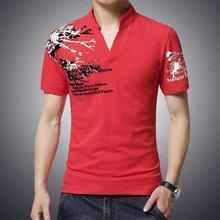 2016 brand new fashion trend printing Slim long-sleeved T-shirt male V-neck T-shirt random cotton T-shirt plus size M-5XL
