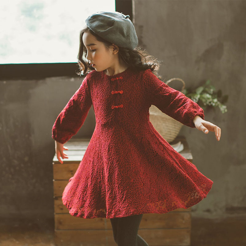 Christmas big girls dresses cotton autumn winter 2017 children's clothes a line long sleeve princess kids dresses girl clothing big girls winter dress long sleeve children clothing princess little girls dresses winter christmas a line red grey kids clothes