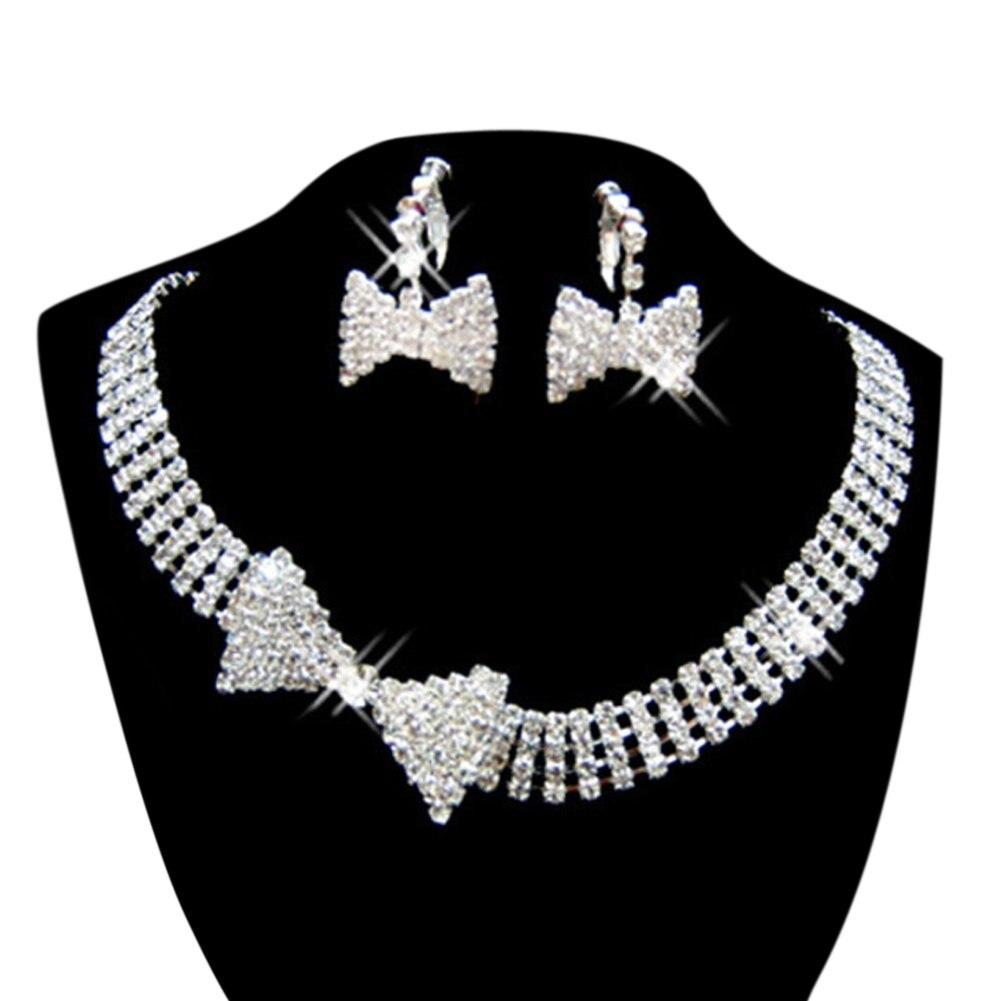 Women's Bridal Wedding Bow Multilayer Pearls Crystal Rhinestone Necklace Jewelry Set