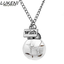 Glass Bottle Nnecklace Natural Dandelion Seed in Glass Long Necklace Wish Glass Bead Orb Silver Plated Pendant jewelry XL157 new trendy natural dandelion seed pendant necklace handmade transparent lucky wish glass ball long chain necklace for women gift