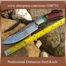 DT081 damascus steel  knife Camping Knife unfoldable collection gift outdoor hunting knife navajas tactical cuchillo de caza
