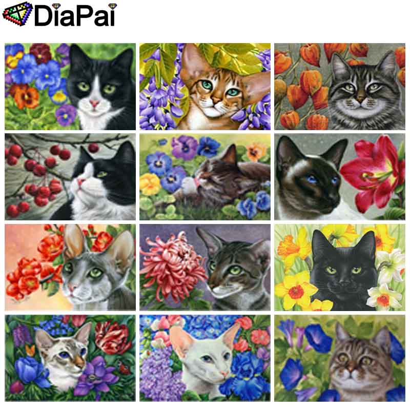 DIAPAI Diamond Painting 5D DIY 100 Full Square Round Drill quot Animal cat flower quot 3D Embroidery Cross Stitch Home Decor in Diamond Painting Cross Stitch from Home amp Garden