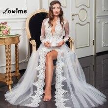 สีขาวA Ppliqueเจ้าสาวตัดเซ็กซี่ลึกคอVชุดแต่งงานเช้าเจ้าสาวสวมชุดนอนนุ่มT Ulleคลุมผ้าคลุมไหล่แต่งงานJaqueta Feminina