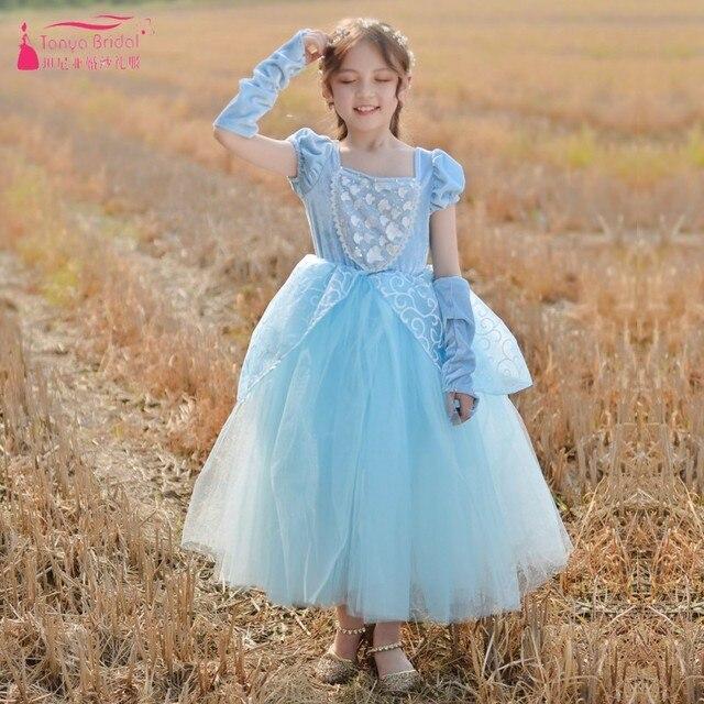 e8ffc4769d7 Light Sky Blue Flower Girls Dresses Fairy princess vestidos de primera  comunion robe mariage fille ZF097