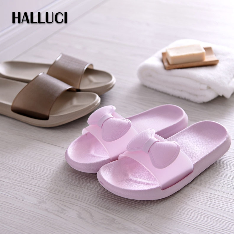 HALLUCI  summer lovely home slippers shoes women mules Korean couple bath flip flops soft sole shoes indoor zapatos mujer halluci breathable sweet cotton candy color home slippers women shoes princess pink slides flip flops mules bedroom slippers