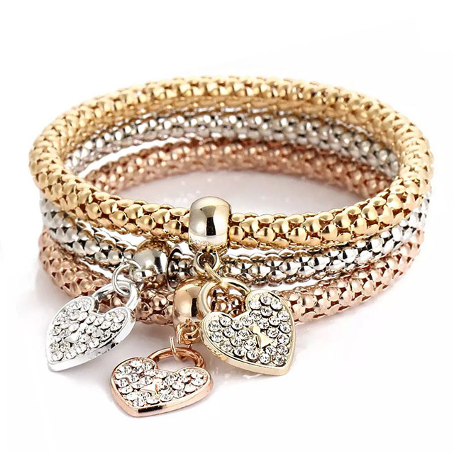 3 Pcs Charm 3-color popcorn elastic chain 2019 fashion Ms Rhinestone Zircon Beading Simple Girl gift Bracelet & Bangle Jewelry