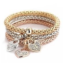 цена на Charm 3-color corn chain for Women Heart lock Rhinestone Zircon Pendant alloy material gold and silver Bracelet & Bangle Jewelry