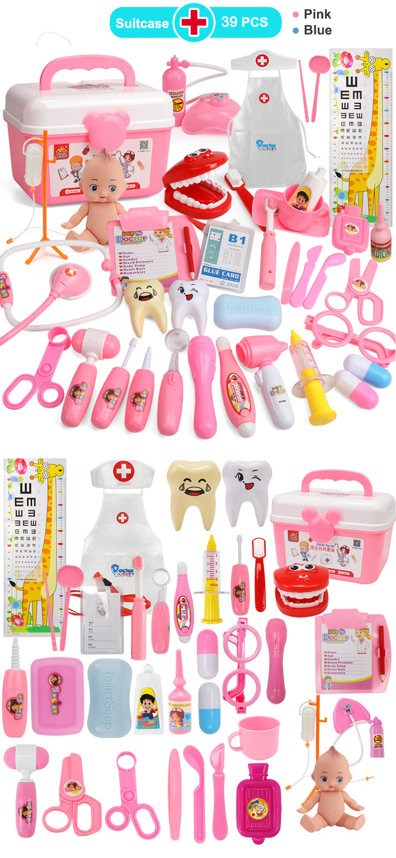 8021135ae031 Kids Role Play Doctor Nurse toy Set Baby Suitcases Medical kit ...