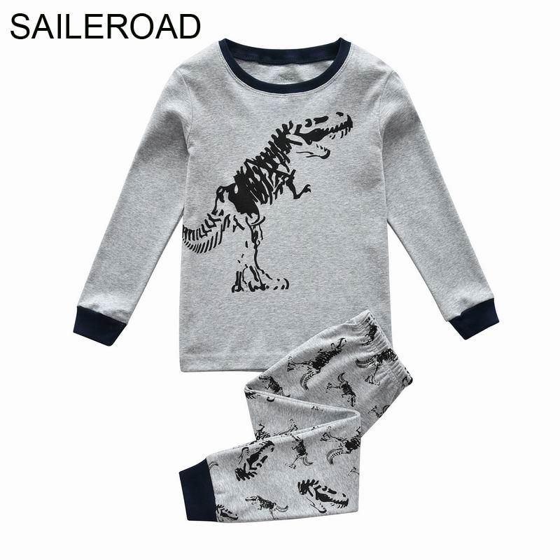 SAILEROAD 2-7 Years Dinosaur Skeleton Nightwear Pijamas Warm for Boys Autumn Children's   Pajamas     Sets   Kids Sleepwear Clothes   Sets