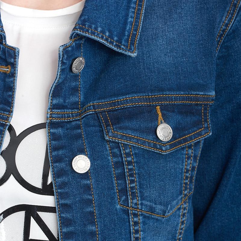 2020 LEIJIJEANS Women jeans jacket coat Bleach Full Sleeves Single Breast Slim Women Denim Jacket 8
