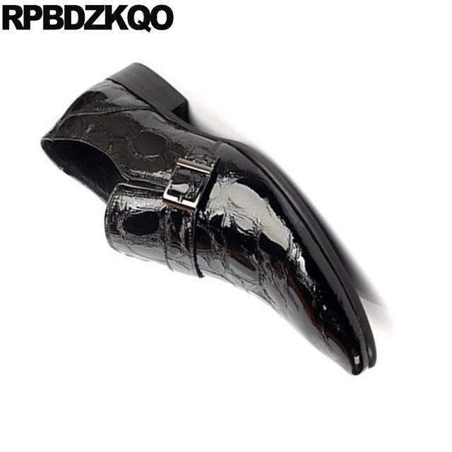 Patent Leather Plus Size Snakeskin Crocodile Snake Skin Office Black Men Dress Shoes With Buckled Alligator Monk Strap Wedding