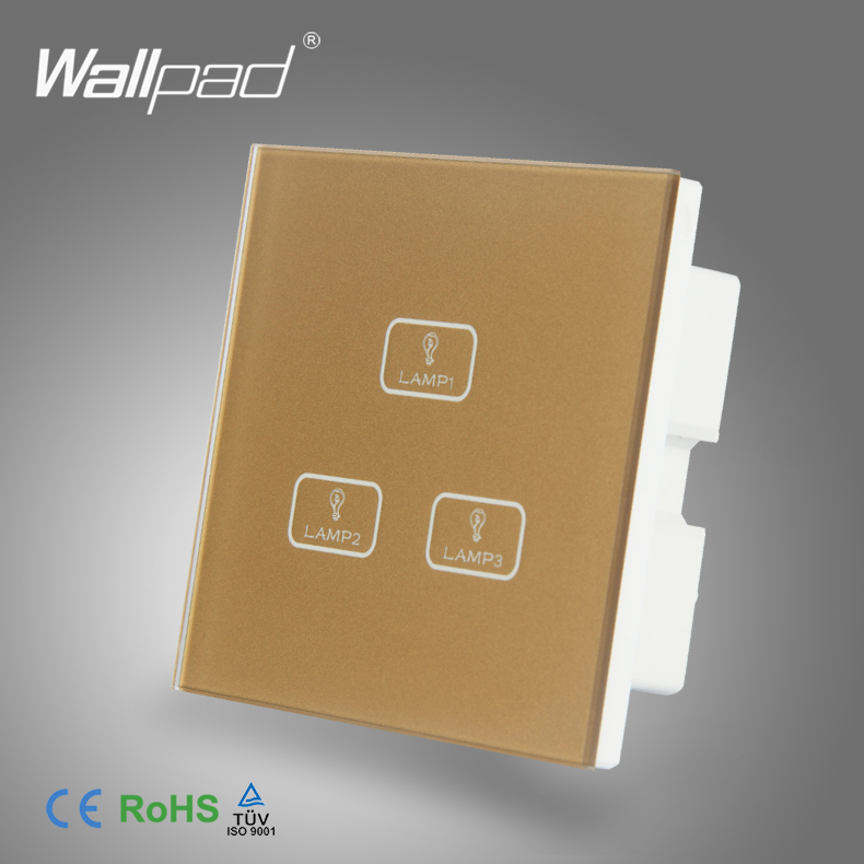 Smart Home 3 Gang Touch Mejor Calidad Wallpad Oro Interruptor De Vidrio led 3 ga