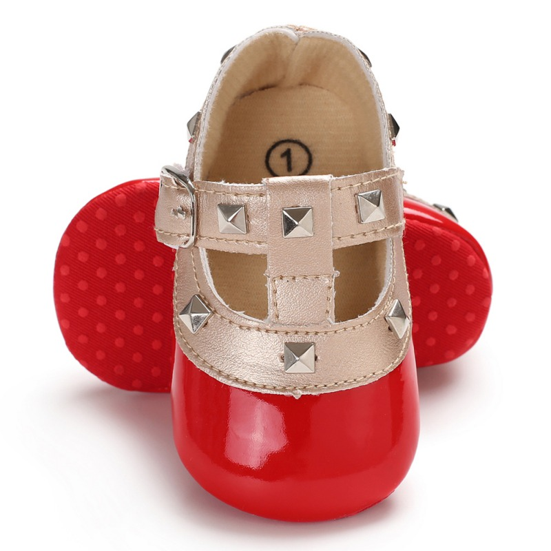 Autumn Red Baby Girl Soft Soled Mirror PU Shoes Infant Walking Dress Cradle Shoe First Walkers