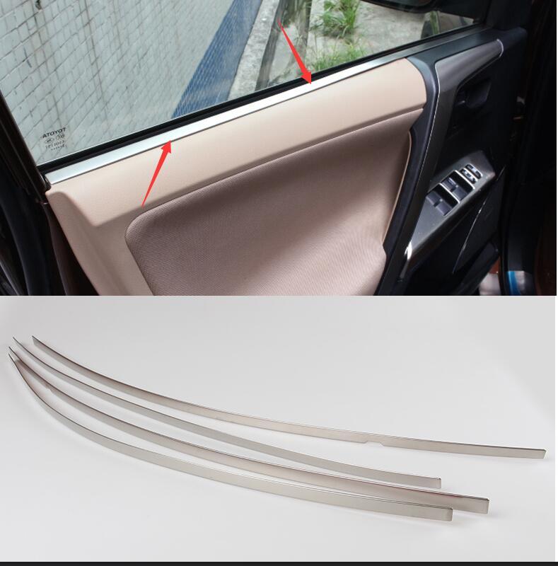 Inner Interior Side Door Window Molding Trim And Door Panel Moulding Cover Trim 4pcs Per Set For Toyota RAV4 2014 2015 2016