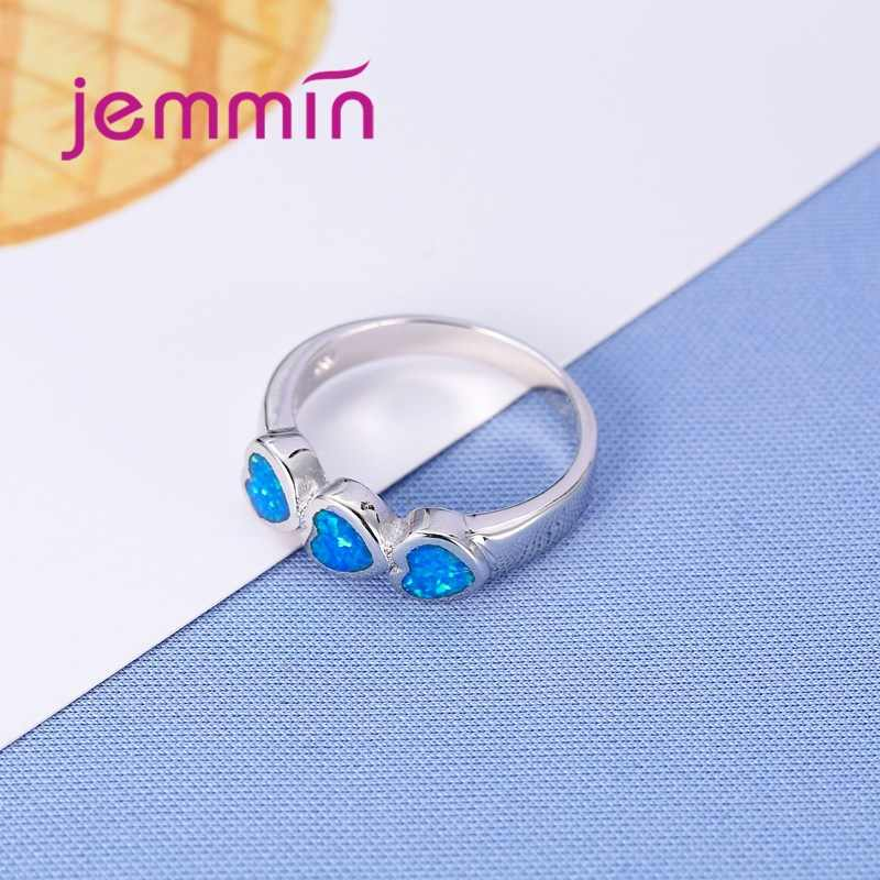 Lovely Rainbow Fire Opal Rings For Women Lady Wedding Party Engagement Love Ring Three Heart Shape for Valentine's Day