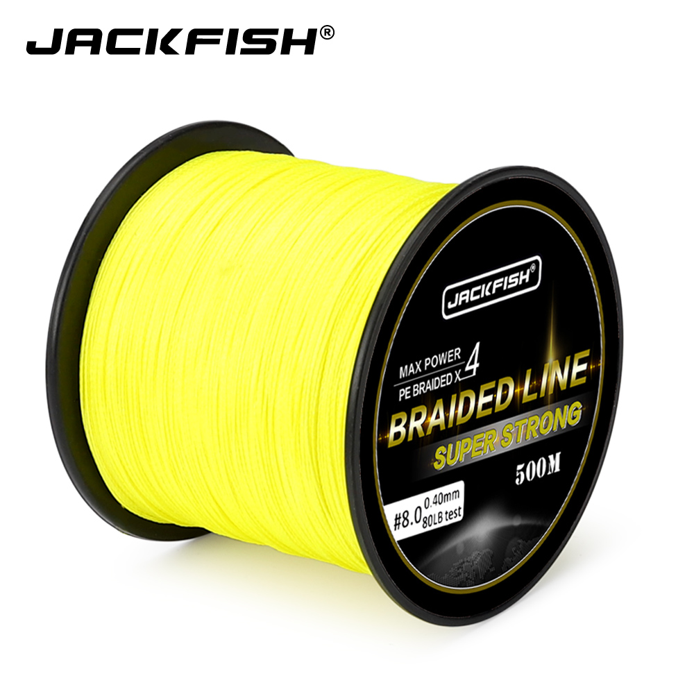 JACKFISH 4 Strand PE Braided Fishing Line 500M/300M 10-80LB Multifilament Fishing Lines For Carp Fishing Saltwater Line fly line