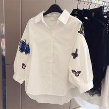 Женская белая рубашка с вышивкой бабочки и длинным рукавом размера