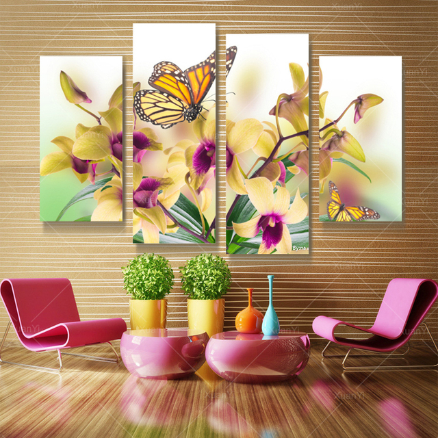 6 piece living room set large chairs for 4 panel butterfly flower canvas wall art oil painting ...