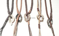 Bohemian Beach Jewelry Braided Leather Lariat Layered Necklace Agate Geode Pendant Necklace N16080608
