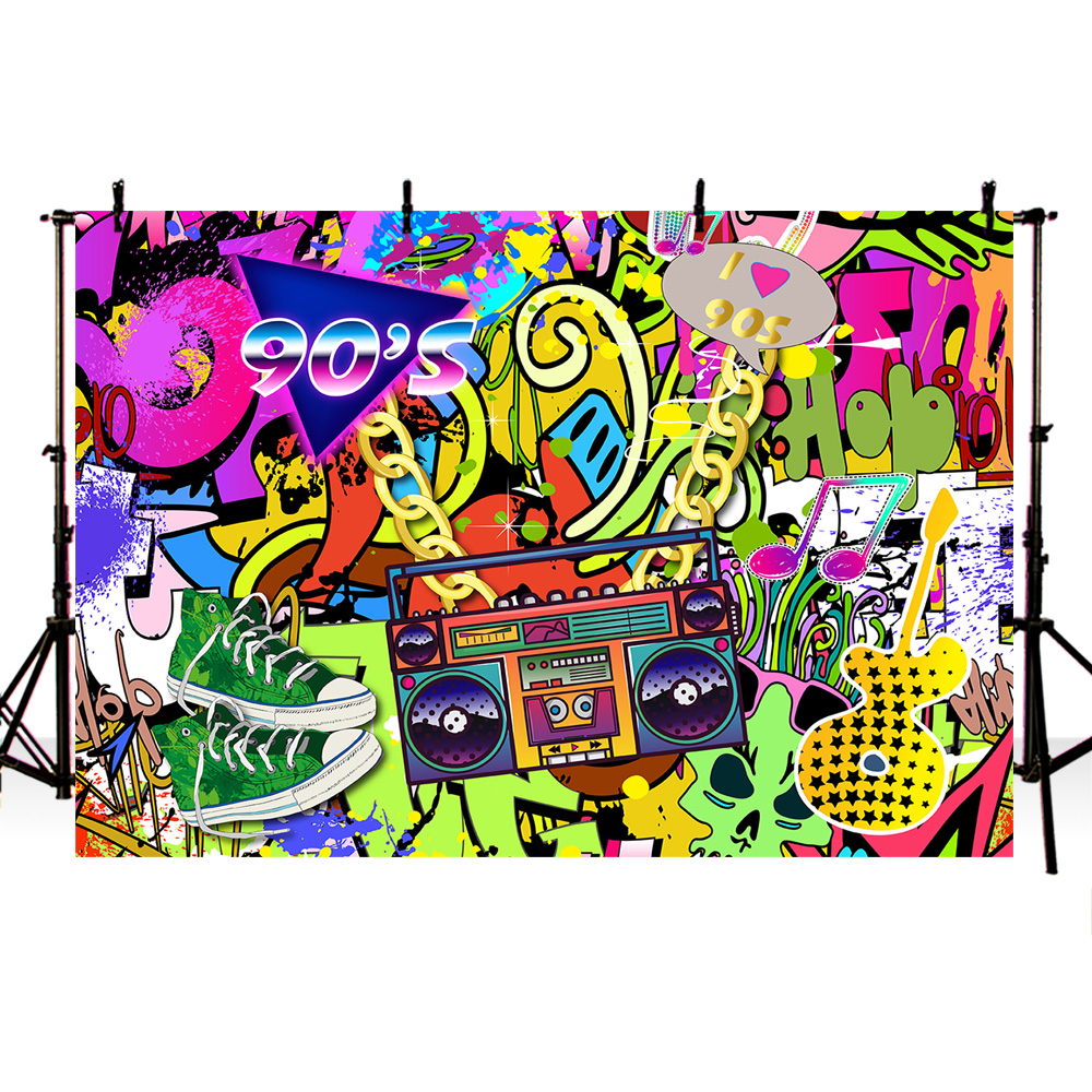 Detail feedback questions about mehofoto 90s themed backdrop graffiti hip pop 90s party background 7x5ft vinyl we love the 90s party banner decoration prop