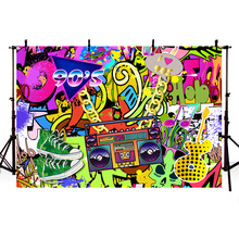 Mehofoto 90s Themed Backdrop Graffiti Hip Pop Party Background 7x5ft Vinyl We Love The Banner Decoration Prop 279