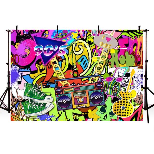 Mehofoto 90s Themed Backdrop Graffiti Hip Pop 90's Party Background 7x5ft Vinyl We Love The 90s Party Banner Decoration Prop 279