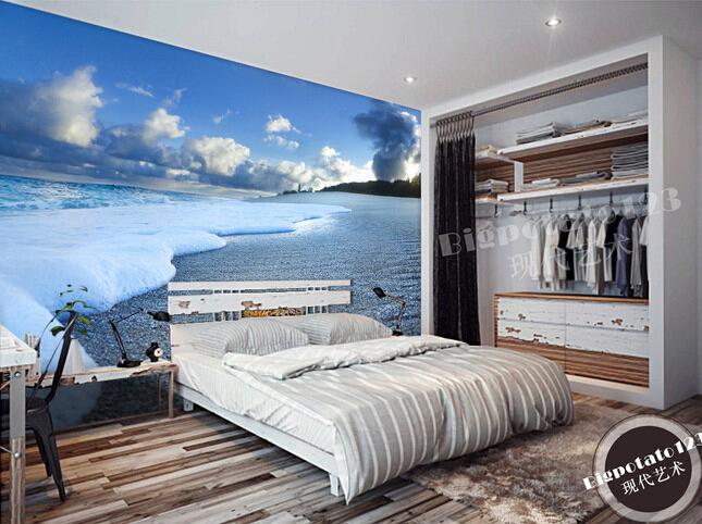 Custom 3D photo wallpaper,blue sky and white clouds Beach Wave landscape for the living room bedroom background wall wallpaper high definition sky blue sky ceiling murals landscape wallpaper living room bedroom 3d wallpaper for ceiling
