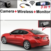 3 In1 Special Rear View Camera Wireless Receiver Mirror Monitor DIY Parking System For Mazda 3