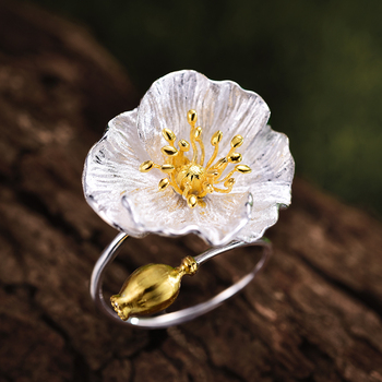 Handmade Blooming Poppies Flower Rings4