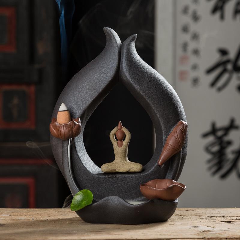 Créatif Classique Décor À La Maison En Céramique Yoga Fille Encensoir Fumée Cascade Brûleur D'encens Serviette Porte Bâton D'encens + 10 pièces Gratuit Cônes