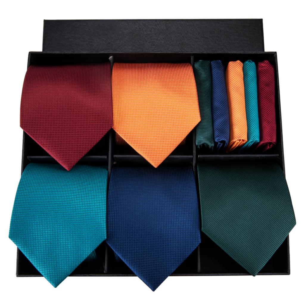 Hi Tie Designer Brand Classic Style Necktie For Men 100 Silk High Quality Solid Ties Hanky