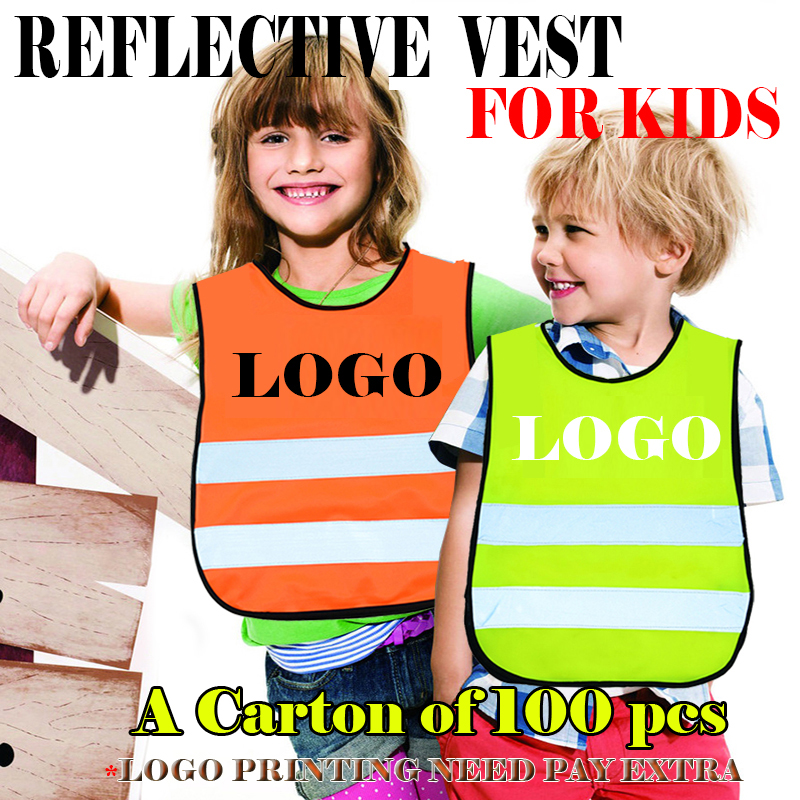 A carton of 100 pcs pupil child kids reflective safety traffic vest cycling running jogging vest waistcoat for kid free shipping цена