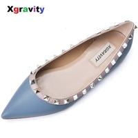 Xgravity Cow Genuine Leather Women Flats Pointed Toe Dress Shoes Elegant Rivets Designer Flat Shoes Ladies Spring Footwear C310