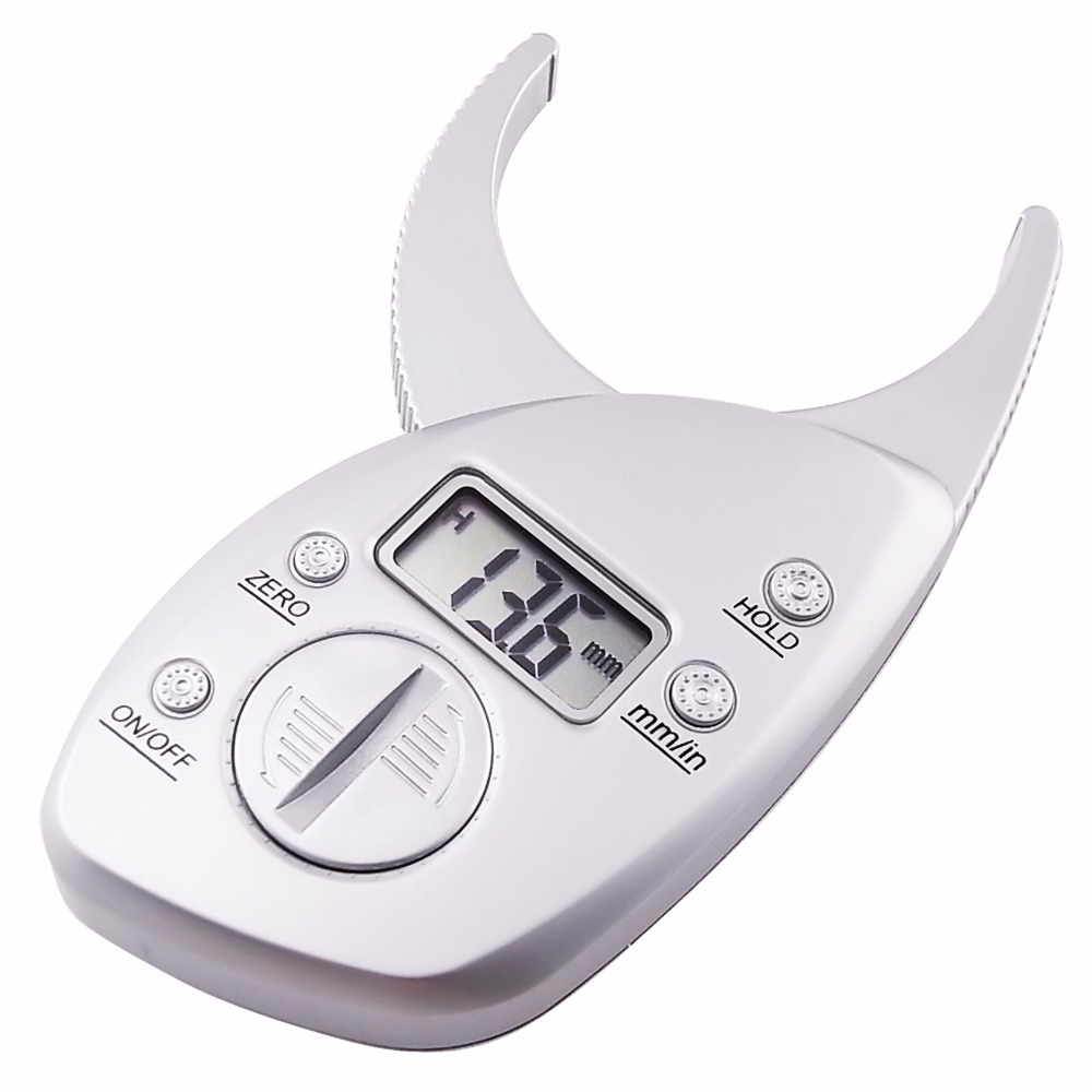 ᗛnew digital lcd body fat caliper skin fold measurement thickness